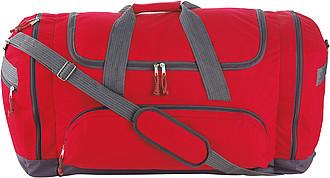 TUVALU Sportovní cestovní taška s množstvím přihrádek, červená