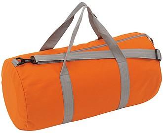 GARNET Válcovitá sportovní taška s šedými popruhy, oranžová