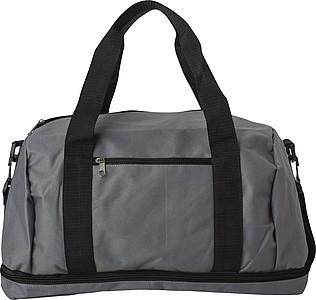 Šedá sportovní taška s černým zipem