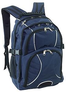 Černo modrý batoh s polstrovanou kapsou na notebook