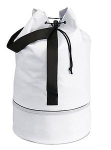 Polyesterový stahovací batoh se zipem ve spodní části, bílá