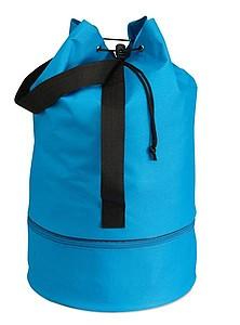 Polyesterový stahovací batoh se zipem ve spodní části, světle modrá