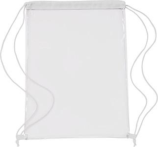 Transparentní ruksak s bílou zdrhovací šňůrkou