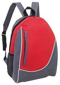 DOGEN Batoh s vertikální přední kapsou, šedo červený