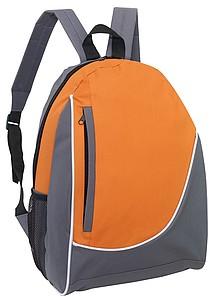 DOGEN Batoh s vertikální přední kapsou, šedo oranžový