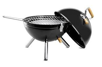 Barbecue gril s poklopem, černá