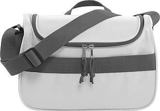 Chladící taška s přední kapsou na suchý zip, bílá