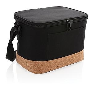 Dvoutónová chladící taška s korkovým detailem, černá