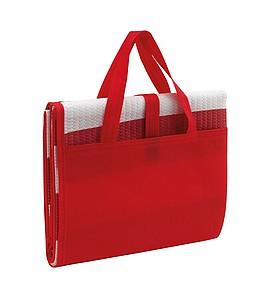 plážová matrace s nafukovacím polštářem, taškou červená-bílá