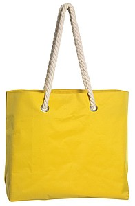BEACH Plážová taška s kroucenými uchy, žlutá