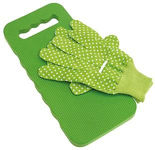 Zahradnická podložka a rukavice, zelené