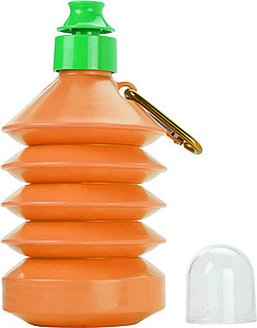 Skládací láhev na pití s karabinou, 300ml, oranžová