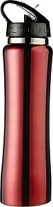 ISMAEL Nerezová láhev na pití s brčkem, 0,5 l, červená