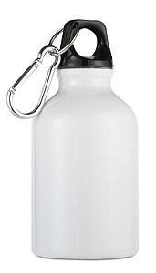 Kovová láhev na pití s karabinou, bílá