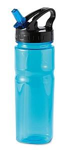 Plastová láhev na vodu se skládacím brčkem ve víčku, transparentní modrá