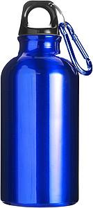KYLBAHA Kovová láhev na pití, 0,4 l, s karabinou, modrá