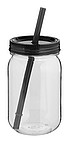 Tritanová láhev 750 ml s brčkem, černé víčko