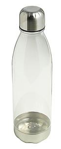 Průhledná láhev na vodu s jemným barevným nádechem. Objem 650ml. Transparentní.