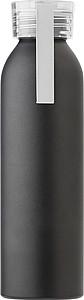 Hliníková láhev na pití, 650ml, matný černý povrch, víčko bílé