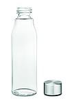 Skleněná láhev na pití s hliníkovým víčkem, 500ml, transparentní