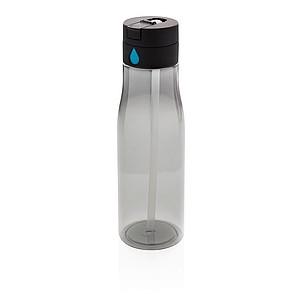 Tritanová láhev Aqua sledující pitný režim s brčkem, černá