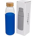 Skleněná sportovní láhev Kai 540 ml s dřevěným uzávěrem, bílá
