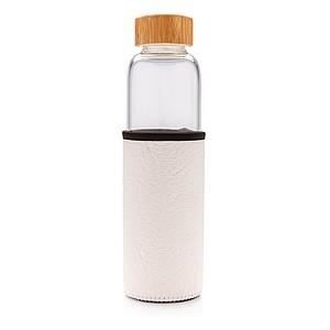 Skleněná lahev ve vzorovaném PU obalu, bílá