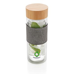 Dvoustěnná skleněná láhev s bambusovým uzávěrem Impact, transparentní