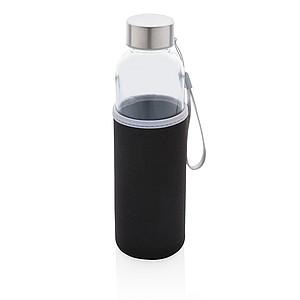 Skleněná lahev v neoprenovém obalu, černá