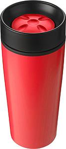 BERGIL Dvoustěnný cestovní hrnek, nerez/plast, 0,45 l, červený