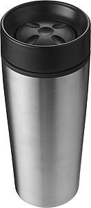 BERGIL Dvoustěnný cestovní hrnek, nerez/plast, 0,45 l, stříbrný