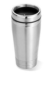 Dvoustěnný nerezový termohrnek s plastovým víčkem, stříbrná