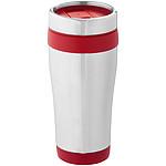 Nerezový hrnek s plastovým vnitřkem, stříbrná, červená