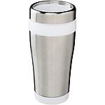 Nerezový hrnek s plastovým vnitřkem, objem 470 ml, bílá/stříbrná