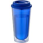 Dvouplášťový plastový termohrnek, modrá