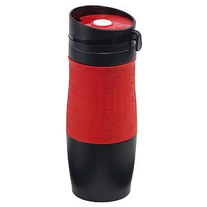Černý nerezový termohrnek 380ml, s červeným rukávem