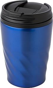 AKLAVIK Termohrnek s víčkem, kombinace nerez, plast, 325ml, modrý