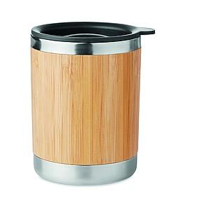 Dvoustěnný nerezový hrnek s víčkem a bambusovým povrchem, 250ml