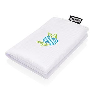 RPET sportovní ručník v pytlíku, bílá