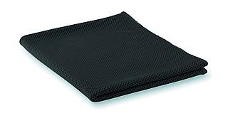 Sportovní ručník, dobře absorbuje vodu. 55% polyamid a 45% mikrovlákno, černý