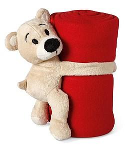 MANTA Dětská deka s medvídkem, červená