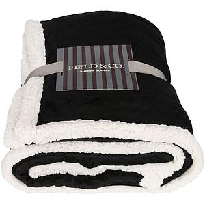 Dvoubarevný pléd z materiálu sherpa fleece, černá