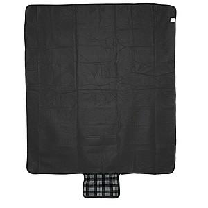 Kostkovaná fleece deka s kapsou, černá