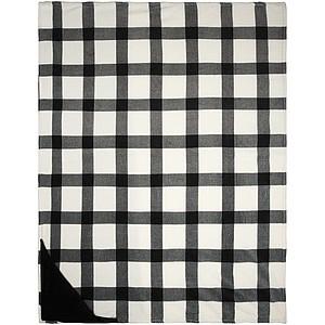 Kostkovaný pléd z hustého plyše s černou spodní stranou, bílá