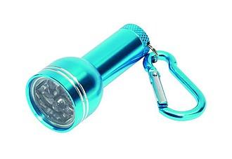 Mini LED svítilna s karabinou, 6 diod, modrá