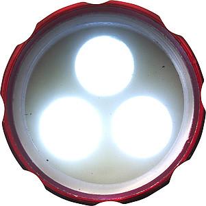 OTYS Malá svítilna se třemi LED a s karabinou, stříbrná