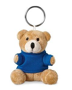 Přívěšek s plyšovým medvídkem v tričku, modrá