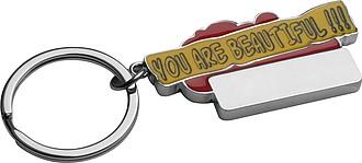 """Kovový přívěsek na klíče """"You are beautiful """", červený"""