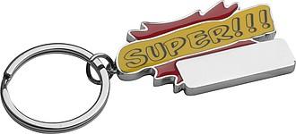"""Kovový přívěsek na klíče """"SUPER """", červený"""