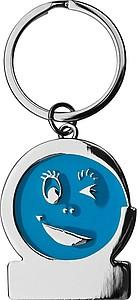 Kovový přívěsek na klíče s mrkacím obličejem, modrý